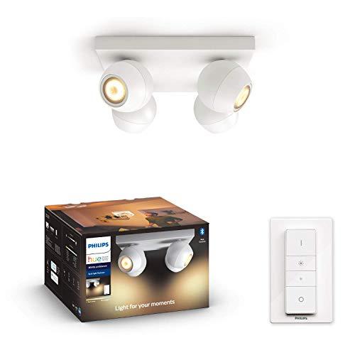 Philips Hue White Amb. LED 4-er Spotleuchte Buckram inkl. Dimmschalter, weiß, dimmbar, alle Weißschattierungen, steuerbar via App, kompatibel mit Amazon Alexa (Echo, Echo Dot)