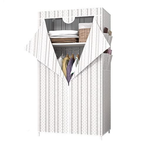 UDEAR Kleiderschrank Tragbare Kleiderschränke, Vliesstoffbezug mit 4 Seitentaschen,Schlafzimmer Ankleidezimmer, Einfach zu Montieren ,Weiß