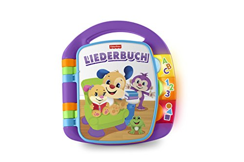 Fisher-Price FRC68 Lernspaß Liederbuch Lernspielzeug für Buchstaben Zahlen und Formen, ab 6 Monaten deutschsprachig, lila