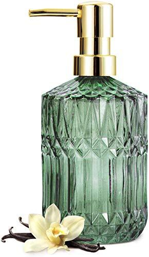 EMPO Seifenspender aus transparentem Glas mit ABS-Kunststoff-Pumpe, Lotionspender für Küche, Bad (grün)