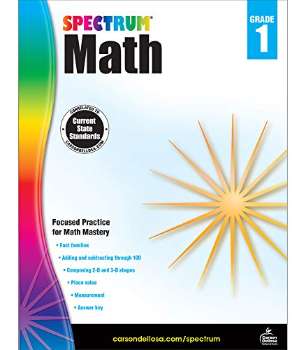 Spectrum First Grade Math Workbook – Addition and Subtraction Mathematics Learning With Examples, Tests, Answer Key for Homeschool or Classroom (160 pgs)