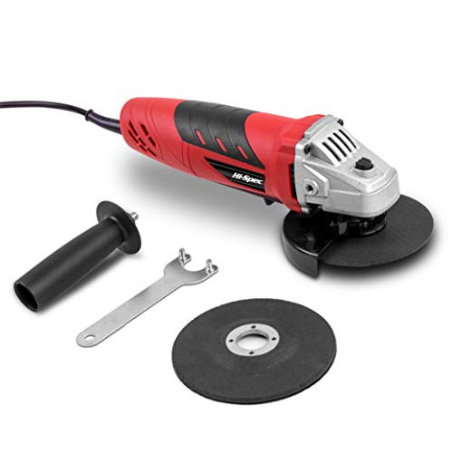 Hi-Spec 500W 5A Corded Mini Angle Side Grinder with 2 Piece Grinding & Abrasive Cutting Grit Discs, Safety Guard & Support Handle. Suitable for Metal, Masonry, Mortar, Brick, and Wood DIY Work in the Home, Garden, Workshop and Garage