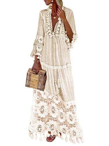 Minetom Langes Kleid Damen 3/4 Ärmel Floral Spitzenkleid V-Ausschnitt Strandkleid Boho Vintage Party Maxikleid Cocktailkleid Weiß 36