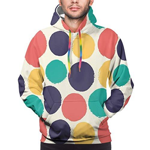 FULIYA Men's Hoodies Sweatshirts,Pattern of Watercolor Polka Dots Blots in Soft Colors Modern Grunge Illustration,XX-Large