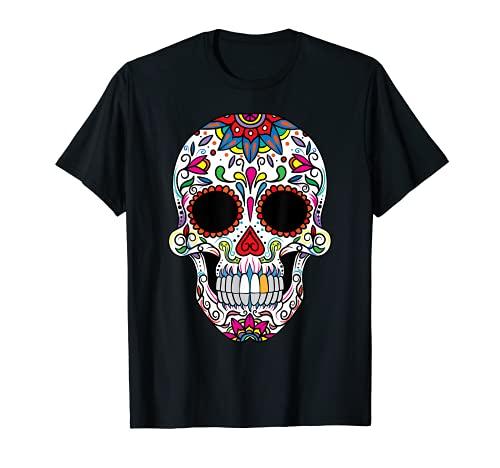 México Dia de los muertos Hombres Calavera Sugar Skull Mujer Camiseta
