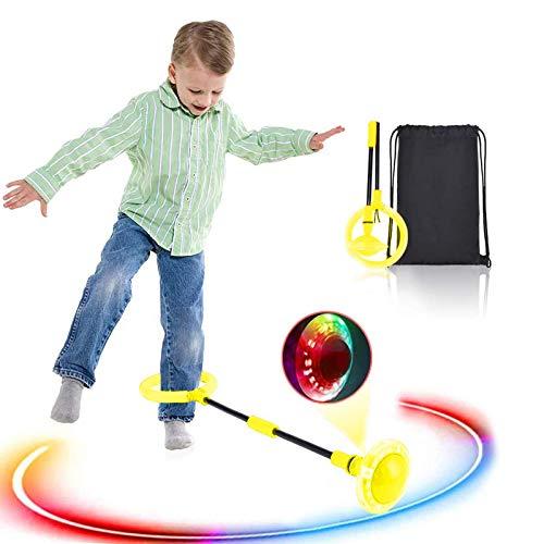 Boyigog Bola de Salto de Tobillo, LED Swing Bolas, Balones Saltadores, Aro de Salto Luminoso Plegable Apto para Que Niños y Adultos Hagan Ejercicio en Casa (Amarillo-brillará)