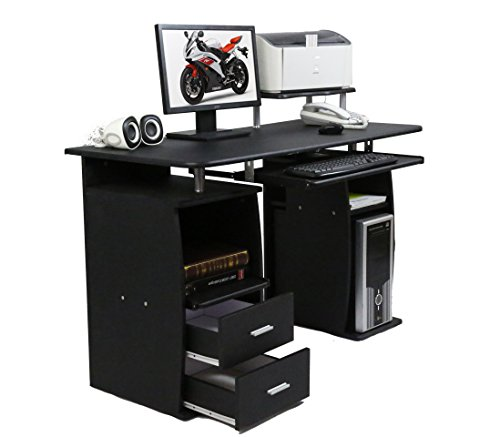 CherryTree Furniture Computer Desk with Cupboard Drawers and Keyboard Tray Desktop PC Table...
