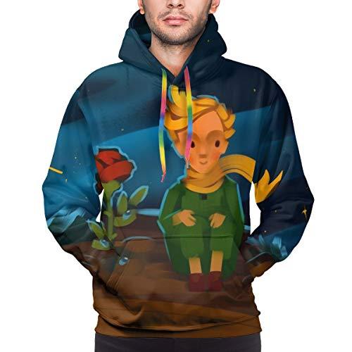 Herren Hoodie Der kleine Prinz und die Rose auf einem Planeten im schönen Nachthimmel Sweatshirt 3XL