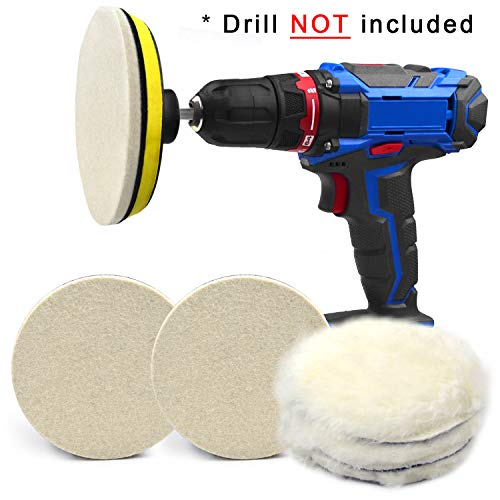 5 Inch Buffing Wool Pads 8PCS Kits, Felt Polishing Pad Buffing Wheel for Drill Woolen Wax Pad and Hook & Loop Backing Plate with 8mm M14 Drill Adapter for Car & Boat Polishing, Waxing, Sealing, Glaze