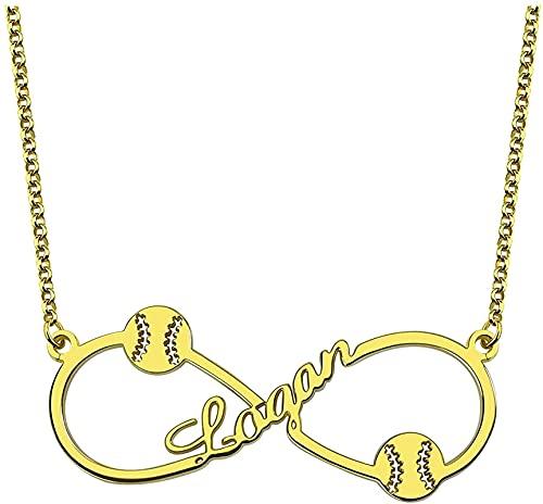 Collar kyznx de plata esterlina 925 personalización del collar con nombre de béisbol para hombres, con cualquier colgante de nombre para enviar novio padre regalo 18.0 oro