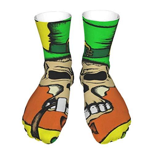 N \ A Crew Socks St Patrick's Day Kleeblatt Totenkopf Frühling Elf Hut Grün Herren Damen Einzigartige Mid Wade Kleid Athletic Socken Herren