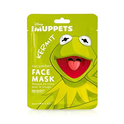 MAD Beauty Disney Muppet Gesichtsmaske Kermit - feuchtigkeitsspendende & entspannende Tuchmaske für gepflegte Haut und einen schönen Teint mit Gurken-Extrakt, 30 g