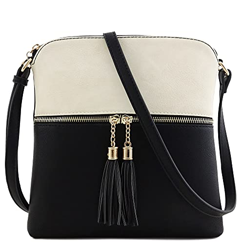 Tassel Zip Pocket Crossbody Bag (Beige/Black)