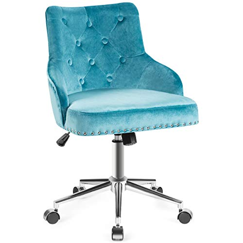 Giantex Modern Home Office Chair, Tufted Velvet Swivel Armchair, Mid-Back Velvet Office Chair with Soft Seat, Adjustable Task Chair Computer Desk Chair for Living Room Bedroom Study (Turquoise)