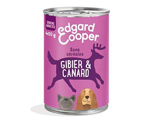Edgard & Cooper Boite Patée Chien Adulte sans Cereales Nourriture Naturelle 400g Chevreuil et Canard Frais, Alimentation Saine savoureuse et équilibrée, Protéines de qualité supérieure