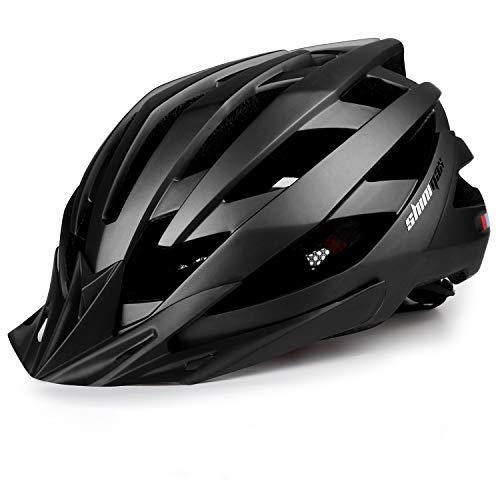 Bike Helmet for Men Women, Shinmax Bicycle Helmet with USB Charging Light&Detachable Sun Visor&Portable Bag&Reflective Straps&Reflective Sticker Mountain Road Cycling Helmet Bc-025