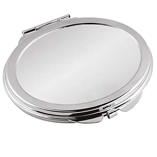 Miroir de poche ovale argenté 7 x 6 cm Plaqué argent plaqué argent - Finitions haut de gamme