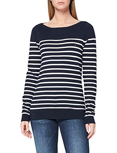 Tommy Hilfiger Damen Heritage Boat Neck Sweater Pullover, Blau (Midnight/Classic White 903), XX-Small (Herstellergröße: XXS)