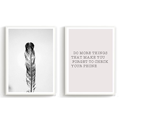 Made by Nami 2er Set Design-Poster A3 Schwarz Weiß Kunstdruck auf Premiumpapier Deko Wohnung Geschenk - ohne Rahmen 29,7 * 42 cm - Feder und Spruch