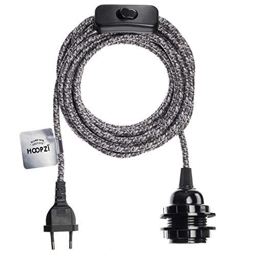 Hoopzi - Bala - Fassung e27 mit Kabel - Lampenfassung e27 mit Kabel und Schalter - Textilkabel mit Fassung - Lampenkabel - Pendelleuchte - 4,5 Meter - 36 Fraben - Gentleman