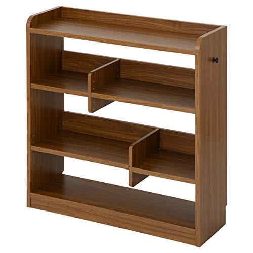 ぼん家具 コミック 収納 オープンシェルフ 4段 木製 スリム ラック 飾り棚 本棚 ウォールナット