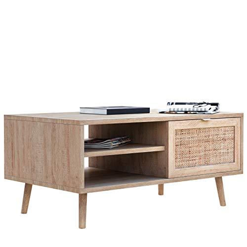 Newfurn Couchtisch Sonoma Eiche Rattan Optik Wohnzimmertisch Modern Skandinavisch - 100x46x60 cm (BxHxT) - Landhausstil Sofatisch Tisch Boho - [Mila.Seven] Wohnzimmer