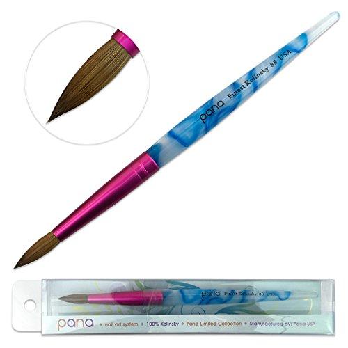 PANA USA Acrylic Nail Brush Pure Kolinsky Hair Acrylic White Swirl Blue Handle with Pink Ferrule Round Shaped - Size 8