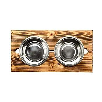 Gamelle Surélevée avec Socle - Gamele en Acier Inoxydable pour Chien Chat Chiot- Doubles Bol de Nourriture pour Animaux de Compagnie-Support en Bois (Gros, Bois brûlé)