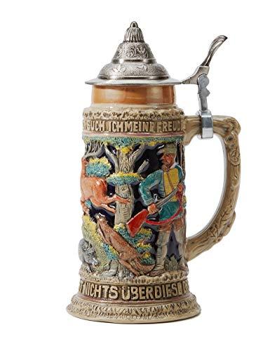 HAUCOZE Beer Stein German Beer Stein Ceramic Beer Mug Handmade Cup Tankard Petwer Lid Wild Hunting Life Relief Gifts Souvenirs Giftbox 0.6 Liter