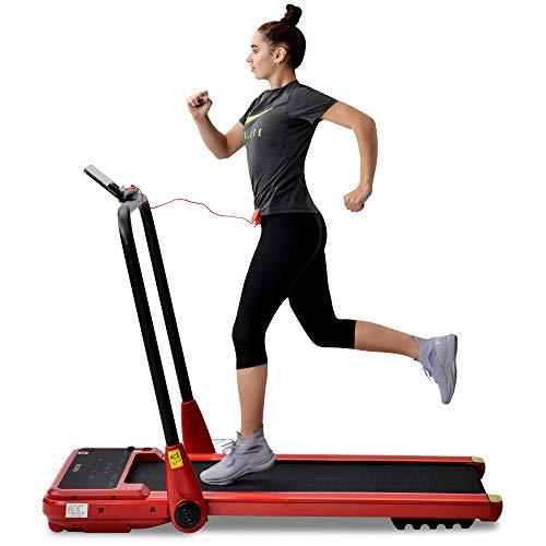 JoRecyczen Tapis roulant elettrico, piegatura con telecomando, 1 – 12 km/h e 1,5 HP potente motore per palestra, casa, ufficio, rosso