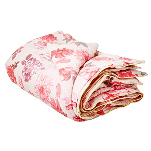 RICE - Quilt/Tagesdecke - Rose Print - Decke 140 x 220 cm - rosa/Gold - Rosen