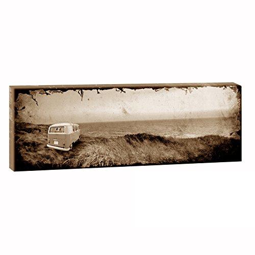 Querfarben Imagen sobre lienzo con diseño de vehículo Bulli | Camper de playa retro | 150 x 50 cm | Impresión artística | imagen de vehículo montado en marco de madera (50 x 150 cm)