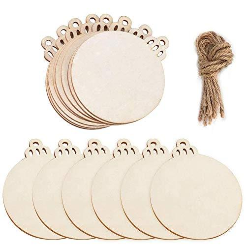 Lifreer 30 piezas de madera natural rodajas de madera redonda bolas en blanco colgantes árbol de Navidad adornos para...