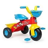 INJUSA - Triciclo Baby Trico Max Mickey Mouse con Cesta Delantera y Cubeta Trasera Portaobjetos Recomendado para Niños de 1 a 3 Años
