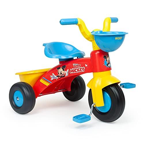 INJUSA - Triciclo Trico Max Mickey Mouse con Cestino Anteriore e Posteriore e Licenza Ufficiale Disney Consigliato per Bambini da 1 a 3 Anni