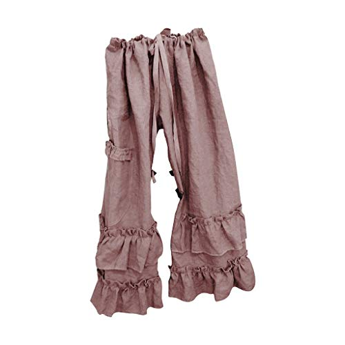 Sttech1 Plus Size Causal Pants for Women Solid Cotton Linen Folds Ruffled Loose Pocket Pants Pink
