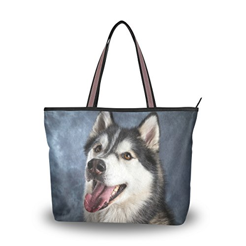 MyDaily - Bolso de hombro para mujer, diseño de perro Husky y fondo negro vintage, color Multicolor, talla Large