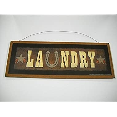 Laundry Room Country Western Wooden Wall Art Sign Horse Shoe