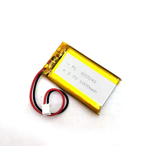 MSDS Verified Part Number: 603048 fits for 603050, Rechargeable 3.7V 1000mAh Li Lipo Lithium Polymer Ion Battery Pack with 2 Pin 2.0mm JST Connector