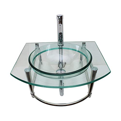 Renovators Supply Haiku Glass Wall Mount Console Sink Round Bowl Wall Hung Bathroom Vessel Sink 23 3/4 Inches Clear Tempered Glass Console With Chrome Faucet, Pop Up Sink Drain And Towel Bar Combo