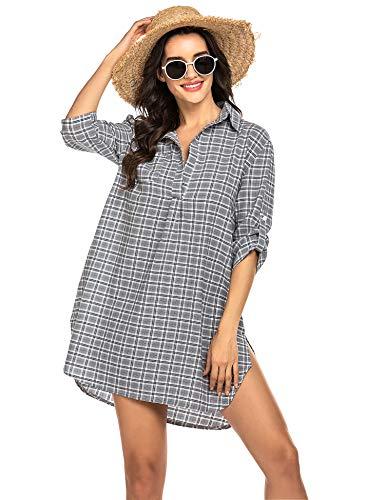 Unibelle Strandkleid Damen Hemdkleid Frauen Badeanzug Strand Vertuschen Shirt Bikini Beachwear Badeanzug Strandkleid Strandponcho Sommer