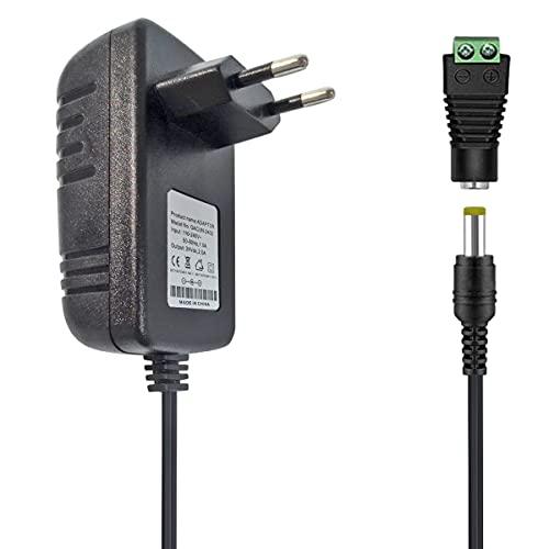 Tesfish 24V 2A Adaptador de Corriente Transformador 48W Fuente de alimentación 5.5 x 2.1/2.5 mm para CCTV, Cámara, Enrutador, LED Tira de luz 5050 2835