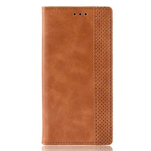 Sinyunron Carcasa para LG K61 Funda de Cuero PU Premium,Flip Caso Cubierta,Billetera Libro Protectora con Tapa Magnética/Ranura para Tarjetas,Marrón