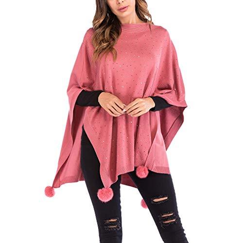 YiyiLai Bommel Deko Damen Herbst Winter Strikjacke Outwear Jacke Gestrickter Umhang Poncho-Schal Pink