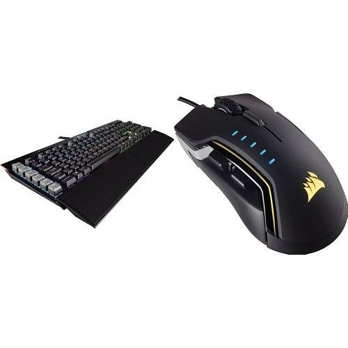 Corsair Platinum RGB Mechanische Gaming Tastatur (mit Cherry MX Brown Tasten, Multi-Color RGB Beleuchtung) schwarz + Glaive Maus (RGB-LED-Hintergrundbeleuchtung, 16000 dpi) Maus optisch aluminium