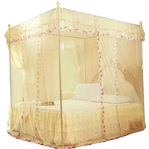 Luxury Princess Moskitonetz Baldachin mit Öffnungen auf 3 Seiten Bettvorhang für Mädchen, Kingsize-Betten, mühelose Montage 150*200*200 gelb