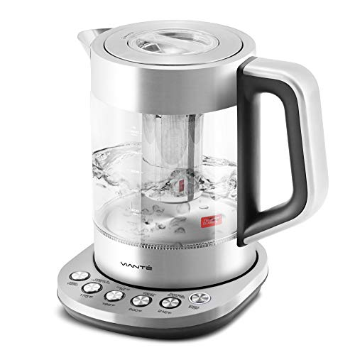 Viante KET-100 Electric Glass Tea Maker Kettle with removable Tea Infuser. 4 Pre-Set Programs. Fast Boil Feature. BPA-Free–Temp Tech Glass Body. Stainless Steel Finish. 1.7 Liter Capacity. Cordless