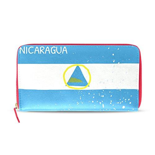 Cartera de Piel con Bandera de Nicaragua Envejecida para Mujer