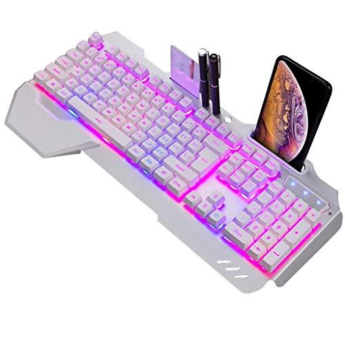 Gaming Keyboard, Mechanical Keyboard RGB LED Backlight Plug and Play White/Black Game Keyboard Ergonomic Design Waterproof Gaming Keyboard for Desktop, Computer, PC (Color : White)