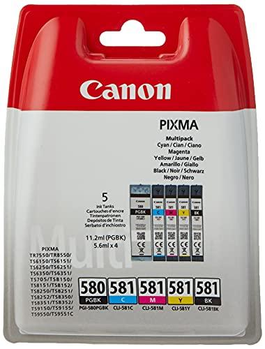 Canon PGI-580BK / CLI-581 BK/C/M/Y Druckertinte - Pigment- und Farbstofftinte Multipack Druckertinte für PIXMA Tintenstrahldrucker ORIGINAL